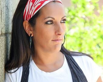 Soft Wide Stretch Red Zebra Stripe Turban Headband