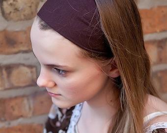 Brown Soft Stretch Wide Jersey Yoga Headband