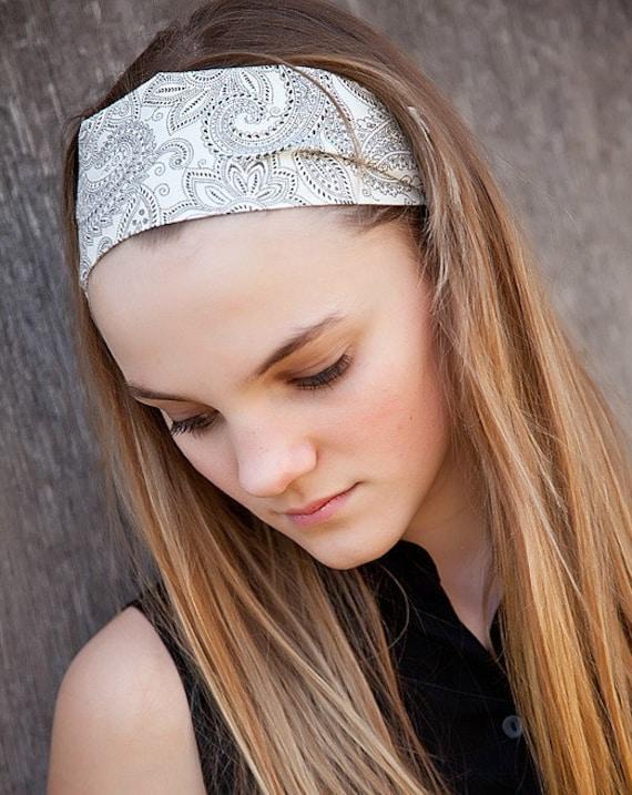 Soft Wide Black and White Paisley Bandana Headband