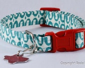 Turquoise and Red - Dog Collar - Adjustable