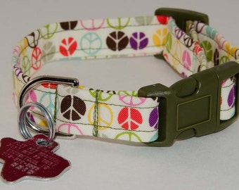 Peace Dog Collar -  Adjustable