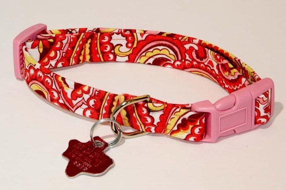 Paisley Pink Print Dog Collar - Adjustable