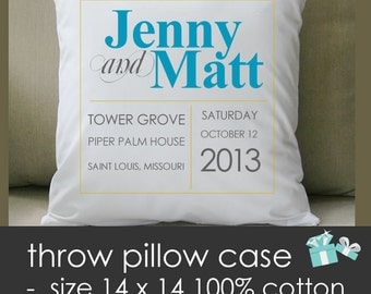 Monogram wedding pillow - THROW pillow size 14 x 14 - perfect wedding gift for the newlyweds