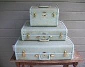 Vintage green luggage, samsonite suitcase X 3, set of suitcases