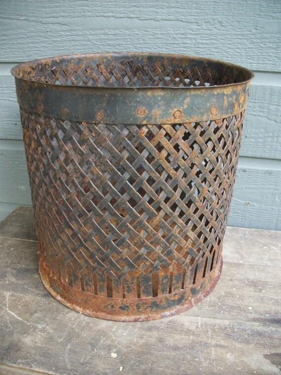Round metal basket, rusty planter