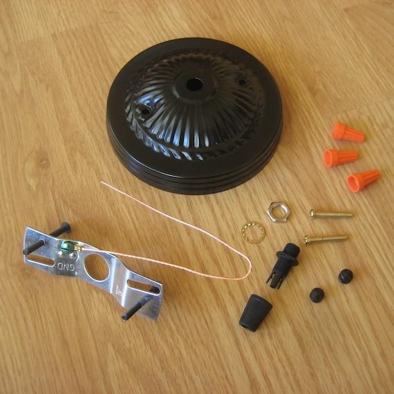 Embossed Ceiling Canopy and Hardware Kit for Pendant Lights - Satin Black, White, Antique Brass