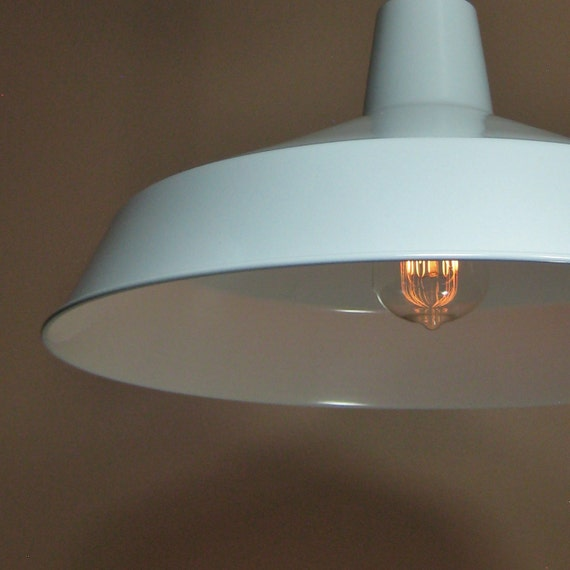 Large White Porcelain Enamel Pendant Barn Light Industrial Warehouse Light Fixture Created New Complete Set