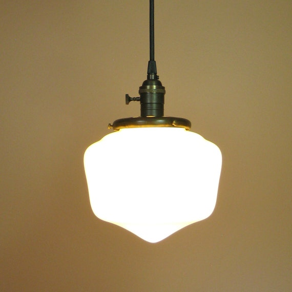 School House Light with Exposed Socket, Antique Style Wire and Oil Rubbed Bronze Finish Schoolhouse Chic Home Decor