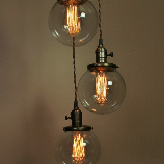 Reserved for An Chang - 3 Light Chandelier and Schoolhouse Semiflush Light  - Custom Order