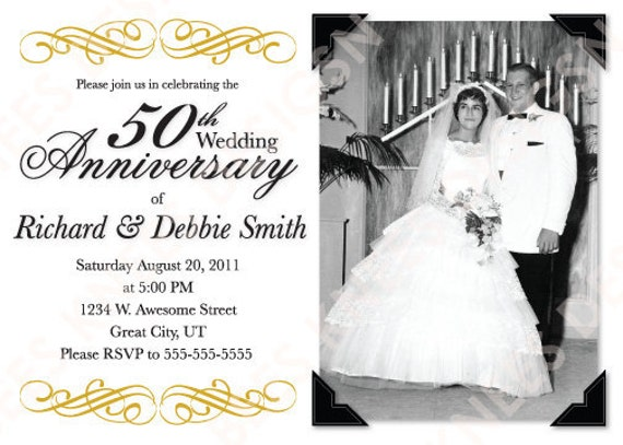 50th Wedding Anniversary Invitation Ideas: Printable 50th Wedding Anniversary Invitation Customized For