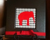 RESERVED for Casey -3 Alabama Houndstooth and Red Elephant Wall Hanging