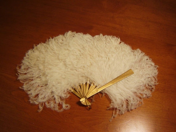 1920s White Ostrich Feather Fan