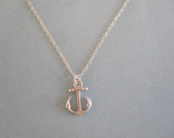 Small Anchor Necklace available in silver or gold