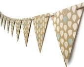 Kraft Paper Bunting, Raindrop Wall Decoration, Party Banner, Rain Garland, Blue and White Triangle Banner, Wedding Prop, Home Decor
