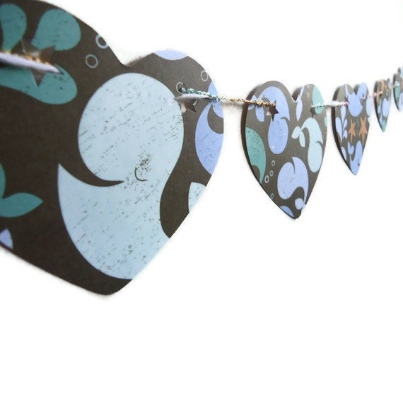 Reserved,   Love Paper Banner, Heart Bunting Banner, Blue and Brown, Whale Wall Hanging, Children's Room Decor, Nursery Banner