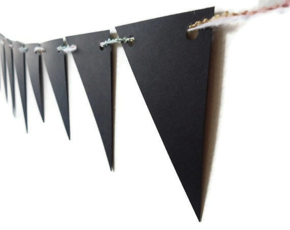 Halloween Paper Bunting, Black Wall Decor, Over the Hill Party Banner, Triangle Bunting Banner, Sleek Garland, Gothic Wall Hanging