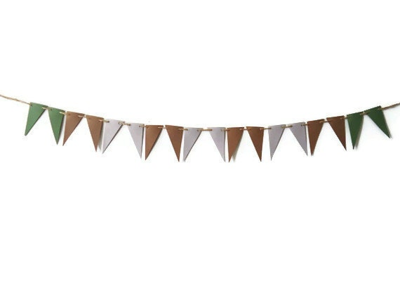 Decorative Paper Bunting, Brown Green Grey, Pennant Flag Banner, Masculine Room Decor, Neutral Home Decor, Natural Look, Photo Prop, Party