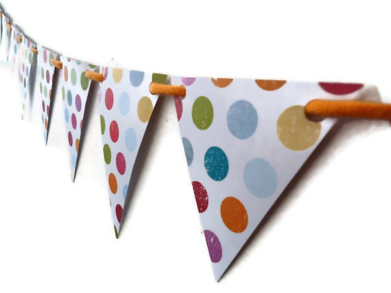 Paper Bunting Pennant, White Multi Colored Polka Dots, Birthday Party Decoration, Room Decor, Triangle Banner, Orange Photo Prop