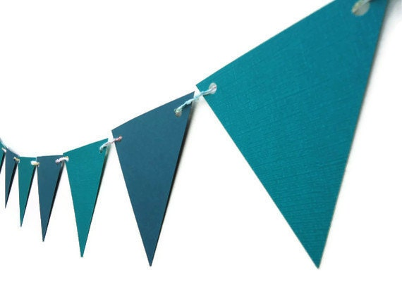 Decorative Paper Bunting Teal Blue Triangle Banner Bedroom Decor Party Wall Hanging Unisex Cardstock