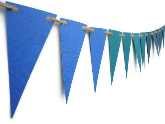 Triangle Paper Bunting, Teal Blue Ombre Banner, Wall Hanging, Home Decor, Party Decoration, Modern Geometric Garland