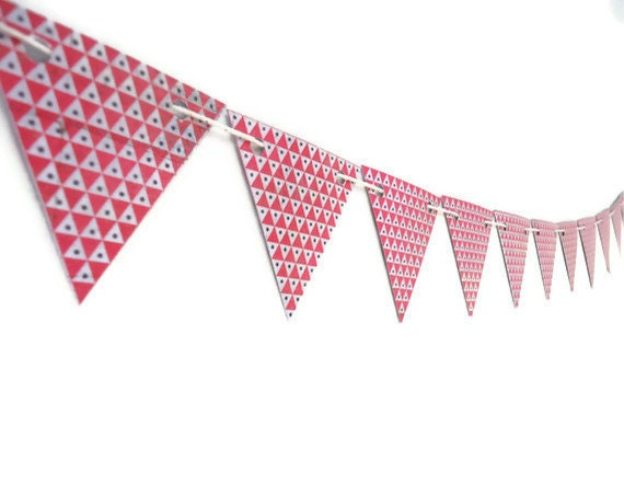 Geometric Triangle Bunting, Red Dotted Banner, Paper Wall Decoration, Party Garland Hanging, Double Sided Triangles, Cute Animals