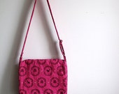 Flashy hot pink school bag, cross-shoulder bag: Echino animals and Heather Bailey primrose tiles (The Charlotte)