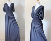 Long Gray Elegant Summer Evening Maxi Dress : Elegant Collection