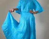 Long Kaftan Maxi Dress Tie Dye Light Blue Boho Cotton Gown : Exotic Collection