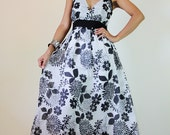 Floral Maxi Dress Black and white Summer Cotton Cute V Neck : Sweetie Vintage Collection