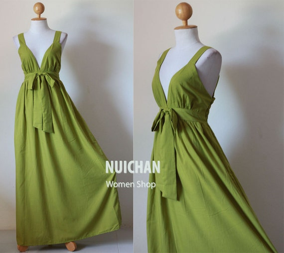 Long Olive Green Maxi Dress Elegant V-styled Neck : Love Party Collection