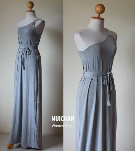 Long Light Grey Formal One Shoulder Classic Tube Maxi Dress: Elegant Collection