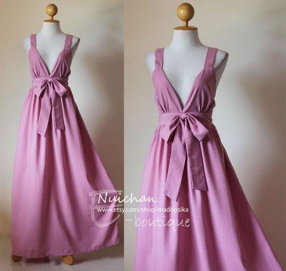 RESERVED for Lisa : Elegant Dust Pink Cocktail Bridesmaid Summer Dress
