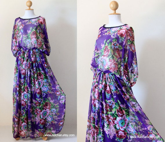 Women Long Maxi Chiffon Half Sleeve Purple with Flower Print   : Smooth as Silk Collection