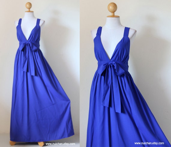 Royal Blue Maxi Dress - Bridesmaid Elegant V- Neck Dress : Love Party Collection