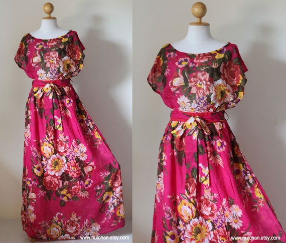 Long Pink Floral Simply Casual Romantic Maxi Dress : Relaxing in the  Garden Collection