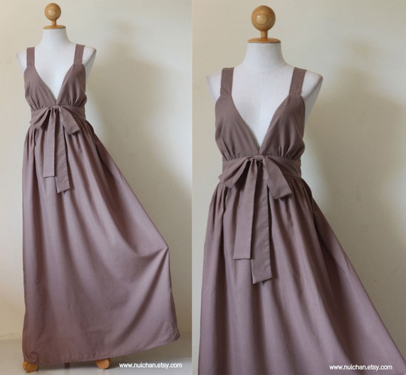Long Maxi Dress Light Brown Cocktail Bridesmaid  : Love Party Collection