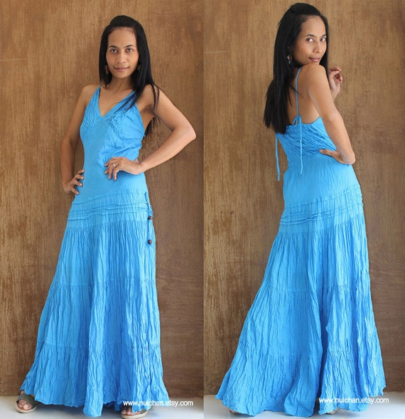 Blue Tie Dyed Maxi Dress  : Exotic Collection