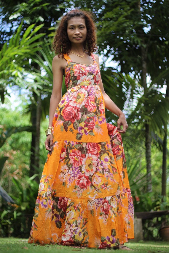 Bohemian Sleeveless Orange Flower Print Long Maxi Dress : Hippie Chickie Collection