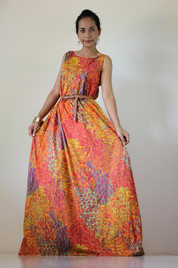 Peacock Maxi Dress Funky Casual Sleevesless Long gown : Happy Holiday Collection