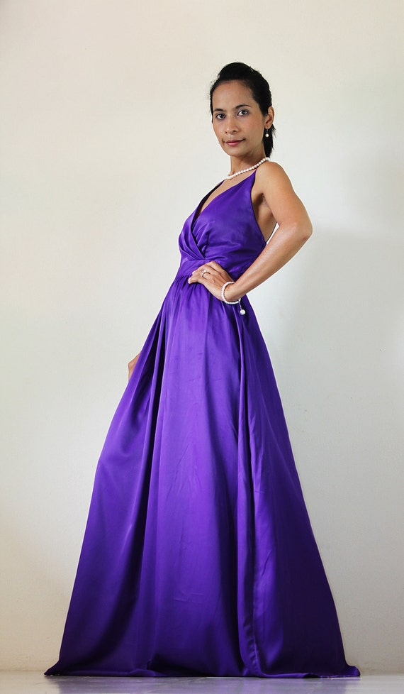 Purple Bridesmaid Dress - Maxi dress Classy Sexy Pleated  V shape Sleeveless  Formal Long Evening Gown: Bussaba My Endless Love  Collection