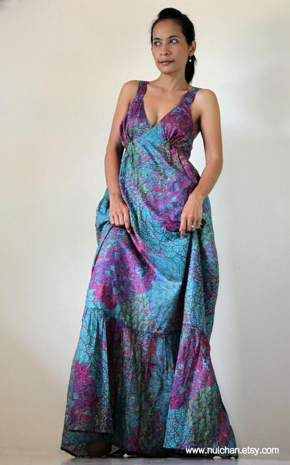 Peacock Bohemian Sleeveless Long Maxi Dress : Kiss of the Sun Collection