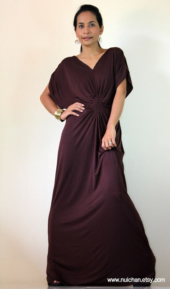 Long Kimono Dress Tube Maxi Dark Maroon Brown: Elegant Collection