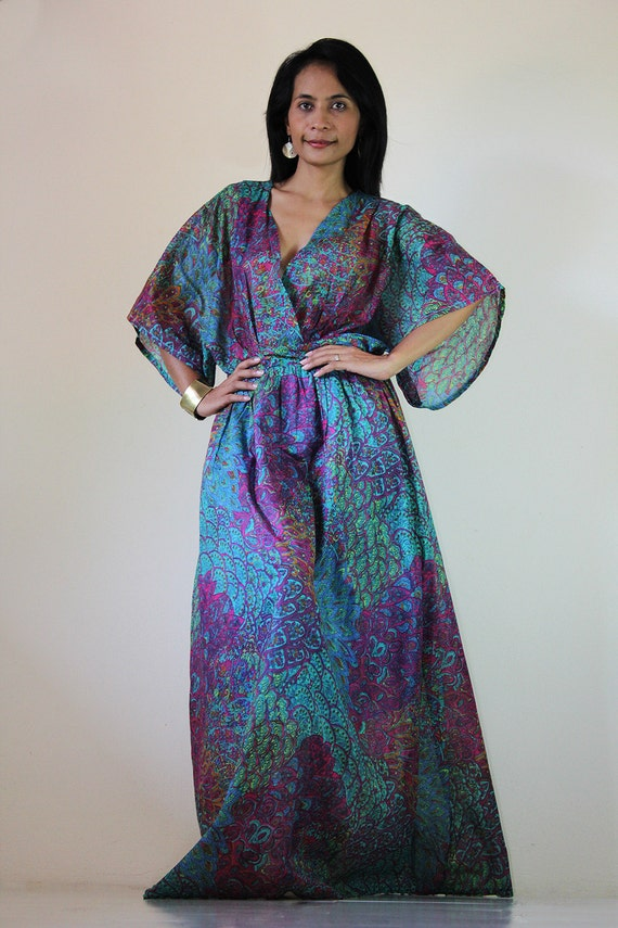 Peacock Kimono Dress Women Kaftan Maxi Dress : Boho Kimono Collection