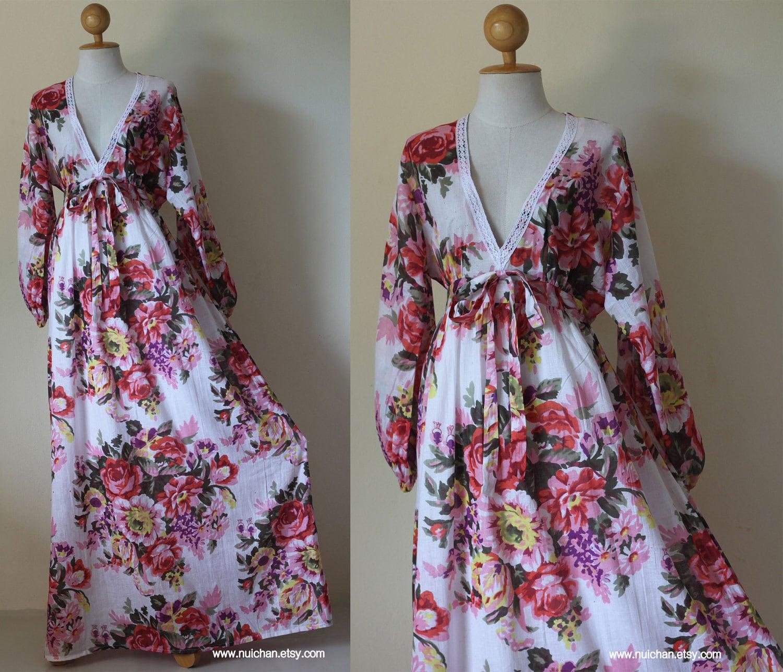 Boho Maxi Dress Long Sleeves Floral Print : Asian Blend Flower