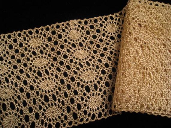 Vintage Wide Ecru Nylon Lace