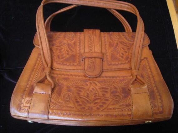 Vintage Flores Tooled Leather Handbag
