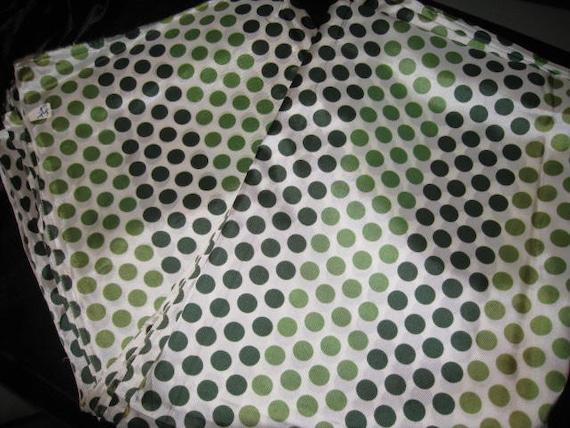 Vintage Green and White Polka Dot Rayon Fabric