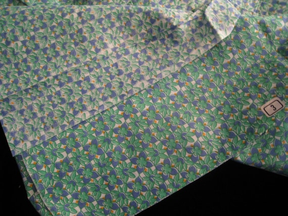 Vintage Cotton  Fabric - Green and Purple Flower Print