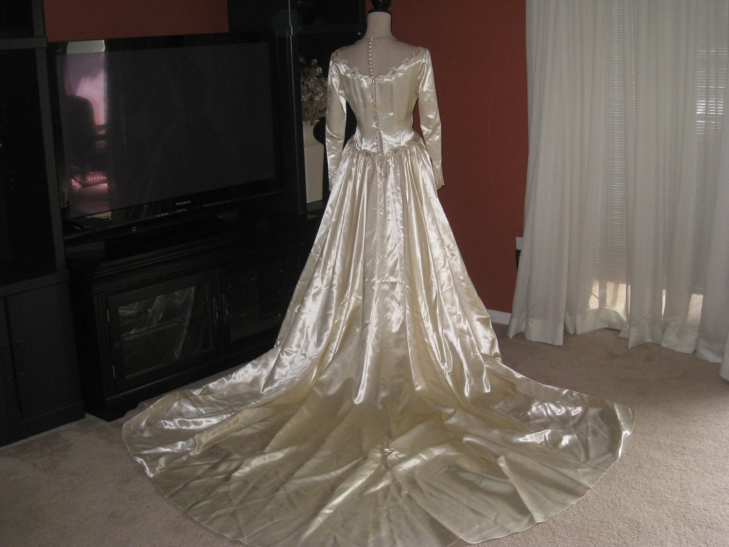 Cream Wedding Gown: RESERVED Vintage Cream Satin Wedding Dress With Ornate By