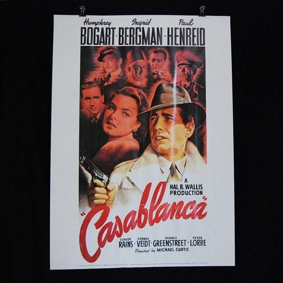 Vintage Casablanca Movie Poster by RealCoolVintage on Etsy